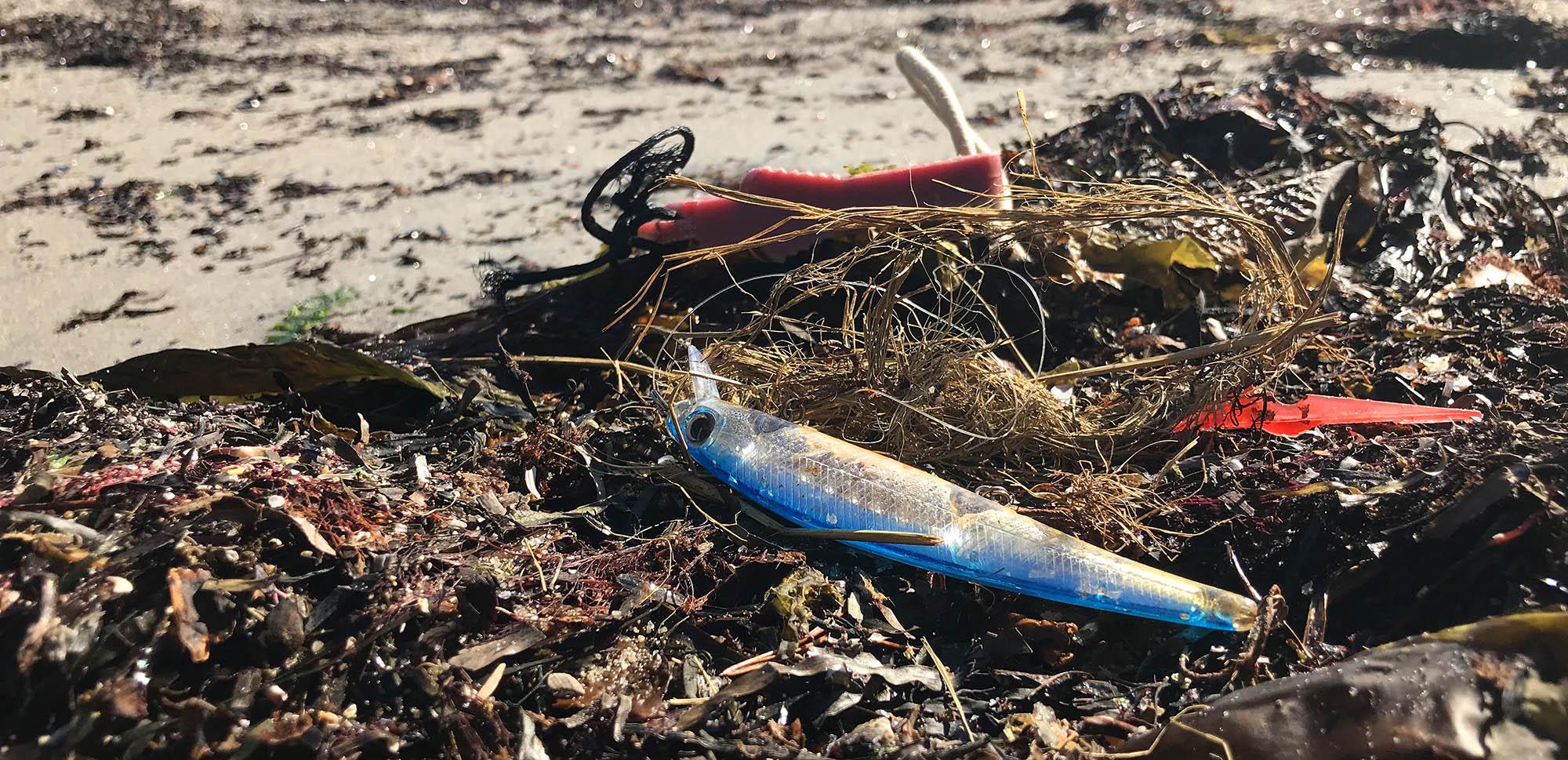 """Fiskesnører, fiskekroker, fibre fra nylontau og små plastbiter kan skade sjøfuglene. Ser du noe sånt setter både fuglene og vi i Raet nasjonalpark pris på at du plukker det med deg slik at det ikke blir liggende i """"matfatet"""" til sjøfugl og vadere. Foto: Øivind Berg"""