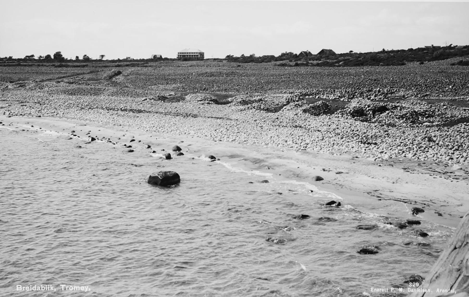 SLIK SÅ DET UT FØR: I 1940-årene var det åpent landskap fra Breidablikk, nåværende Arendal Herregaard, og ned til Spornesstranda. Foto: Arkivfoto fra Aust-Agder Museum og Arkiv.
